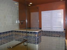 Mexican Tile Bathroom Designs by Mexican Tile Border Shower Area Mexican Home Decor