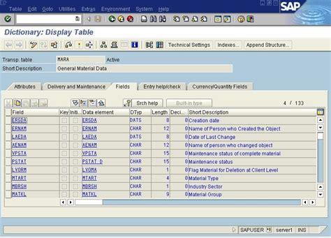 mara table in sap sap abap with screenshots ddic definition for table mara