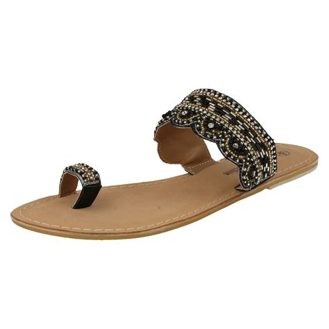 beaded toe sandals spot on leather collection beaded toe summer sandals ebay