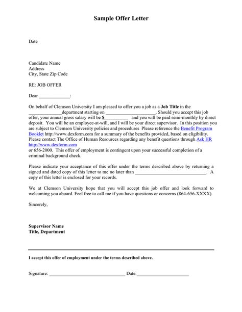 sample university offer letter word formats