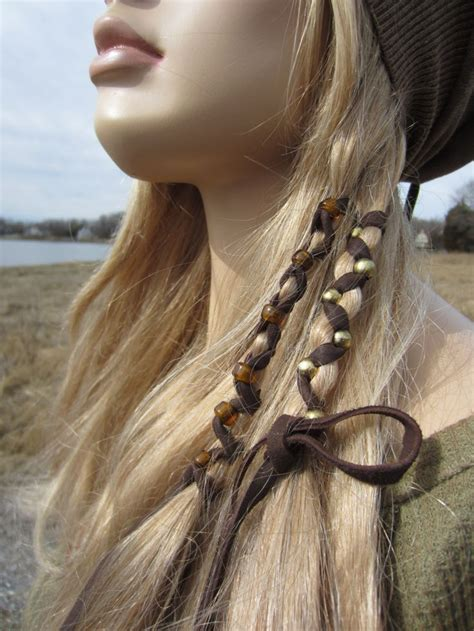 feathered wraps black hair 2 bohemian style hair wraps ponytail holders leather