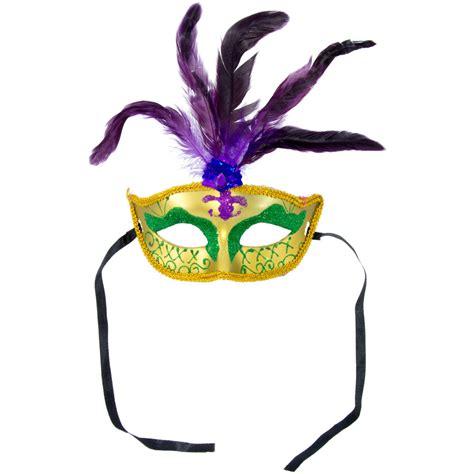 gold glitter fancy mask  purple feathers  mardi