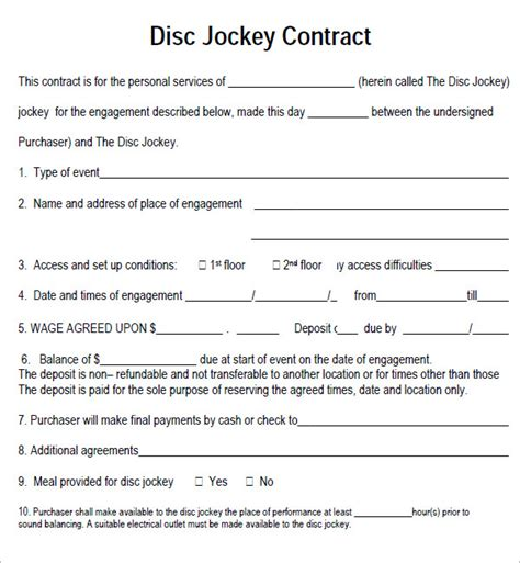 Contract Template Pdf dj contract 12 documents in pdf