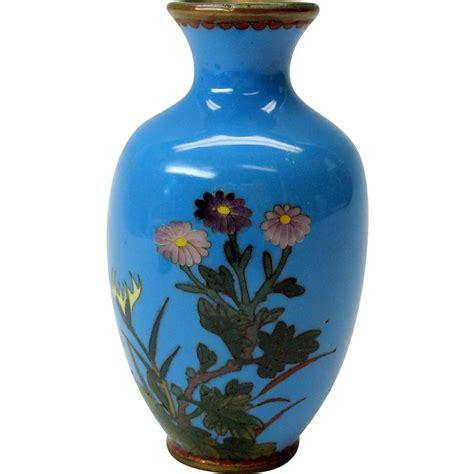 Blue Cloisonne Vase by Miniature Pale Blue Japanese Cloisonne Cabinet Vase