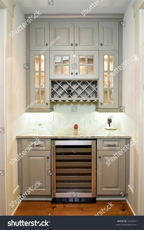 butlers pantry wine rack cabinets wine stock photo