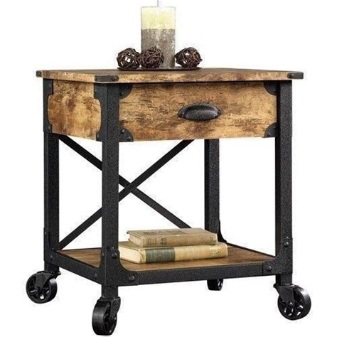 rustic country side end table antique vintage industrial