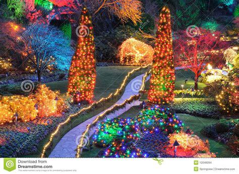 decorarte jardim canada christmas lights in butchart gardens stock photo image
