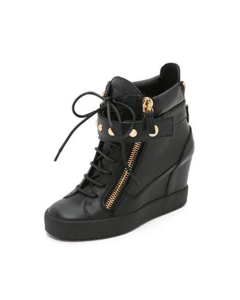 giuseppe zanotti lorenz wedge sneakers giuseppe zanotti lorenz wedge sneakers in black lyst
