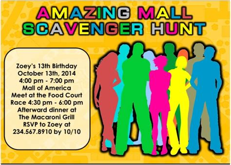 printable mall scavenger hunt party kit