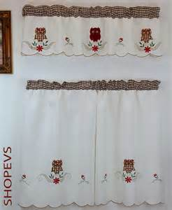 owl kitchen curtain with swag and tier set 36 in ebay
