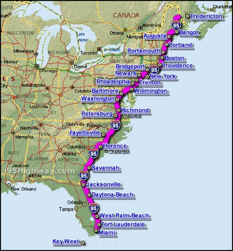 map of east coast of florida cities i 95 interstate 95 highway road maps traffic and news