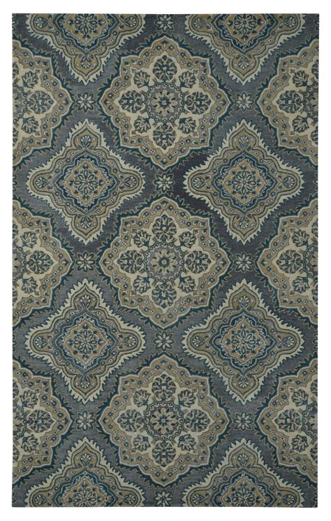 Damask 1097 Wool Grey Rug 5 X 8 Damask Rug