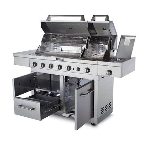 kitchenaid 6 burner dual chamber propane gas grill in