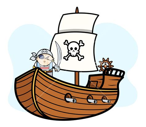 boat cartoon pirate eye patched captain pirate on pirate ship vector cartoon