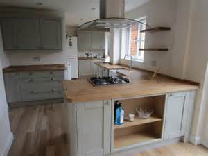 Howdens Kitchen Cabinets by Nice Colour Cabinets Wood Worktop With Wooden Flooring