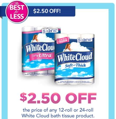 white cloud diaper printable coupons 2 50 off white cloud toilet paper coupon means 14 each roll