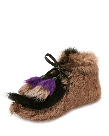 Miuccia Prada Bored With Fur by Prada Fur Tassel Self Tie Boot Neiman