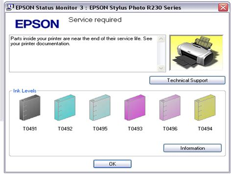 reset epson r230 service required maro river mereset printer epson r230
