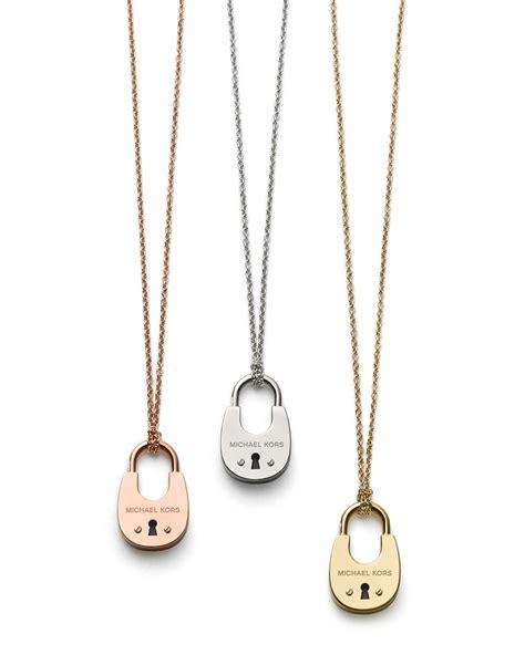 Michael Kors 16 lyst michael kors padlock pendant necklace 16 quot in pink