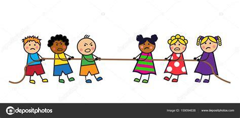 dibujos de niños jugando juegos tradicionales los ni 241 os tire de la cuerda vector de stock 169 olgasuslo