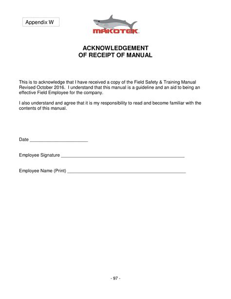Manual Receipt Template by 4 Employee Manual Acknowledgment Forms Word Pdf
