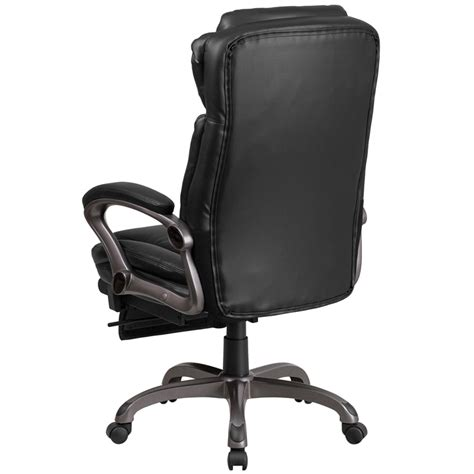 exercise office chair with armrests high back black leather executive reclining swivel chair