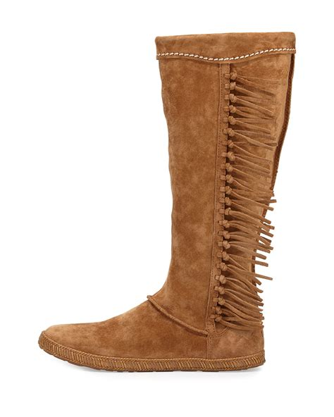 fridge boots lyst ugg mammoth suede fringe boot in brown