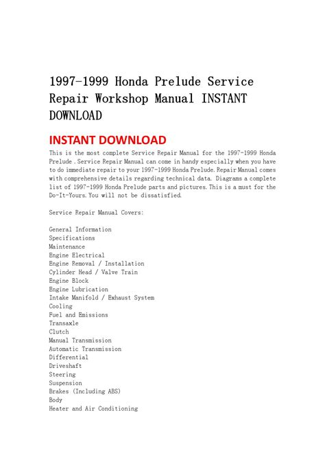 how to download repair manuals 1994 honda prelude lane departure warning 1997 1999 honda prelude service repair workshop manual instant download by ujsmefmmes issuu