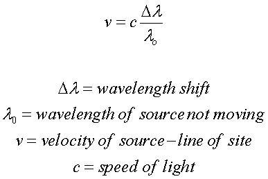 how do you measure the speed of light formulas doppler shift