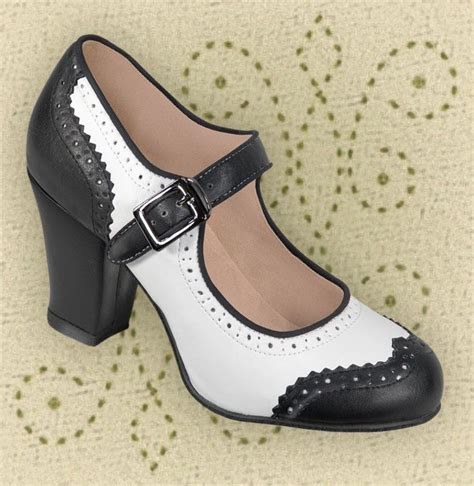 1940s shoes aris allen black white 1940s wingtip heeled