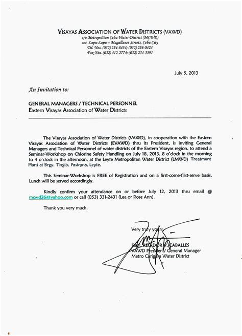 Certificate Of Appearance Letter Catbalogan Water District