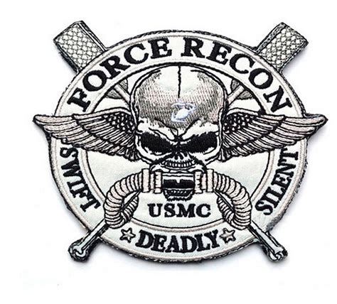 usmc force recon swift silent deadly patch usmc stick on