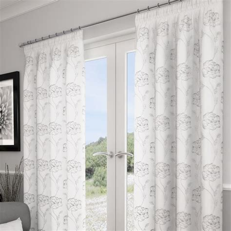 white and silver voile curtains embroidered lined voile lotus white silver lined voile