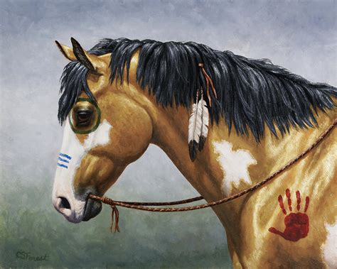 buckskin native american war horse painting by crista forest