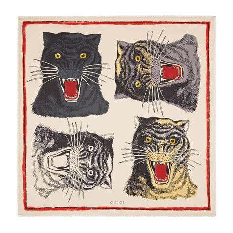 Gucci Twofaces 03cg101 lyst gucci tiger print silk scarf