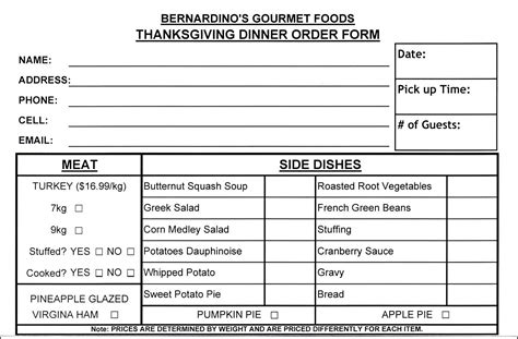 thanksgiving food order form template besttemplates123