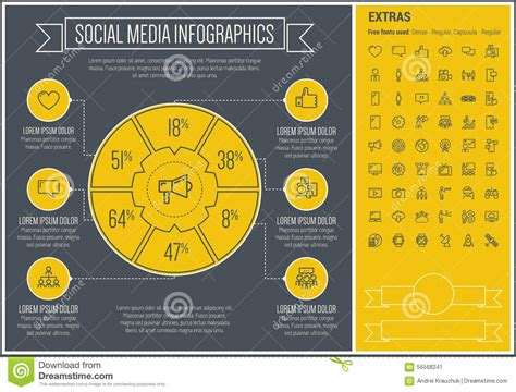 social media templates design social media line design infographic template stock vector