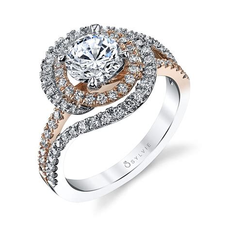 swirl engagement ring two tone engagement ring