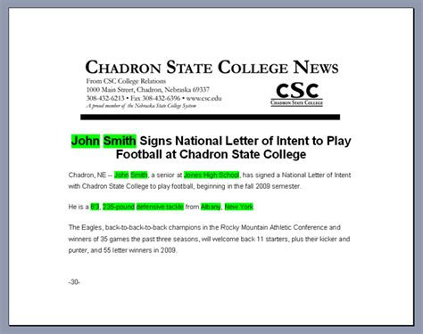Release Letter Format From College Letter Of Intent Readmedia Wiki
