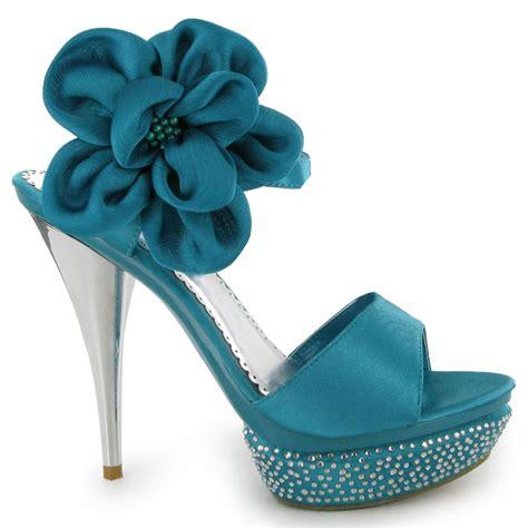 teal high heels womens teal bridesmaid high heels diamante wedding
