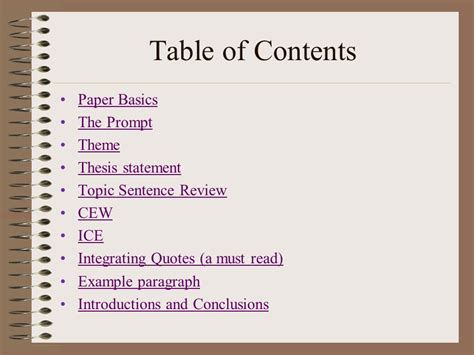 themes in literature abeka table of contents basics of writing in ap literature ppt download