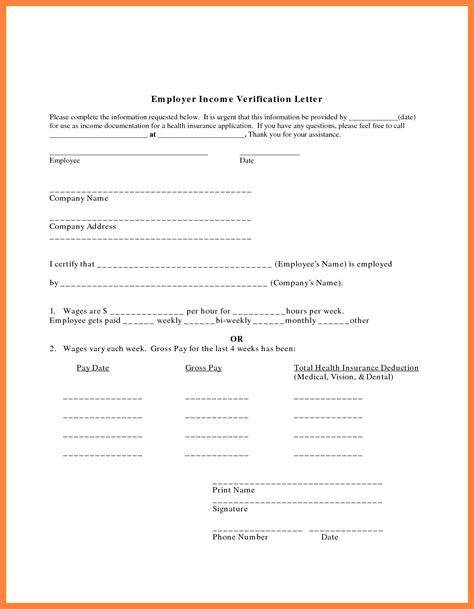 Employment Income Letter Sle 7 Employment Salary Verification Letter Sales Slip Template