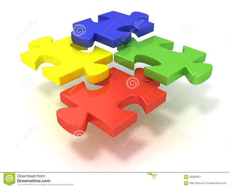 colorful puzzle pieces four colorful jigsaw puzzle pieces set apart stock image