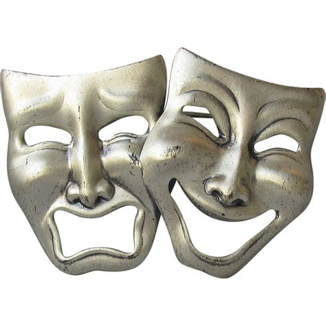 1950 s sterling comedy amp tragedy mask pin actors vintage