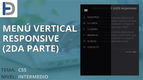 responsive design vertical menu css crear un menu vertical responsive con impresionantes