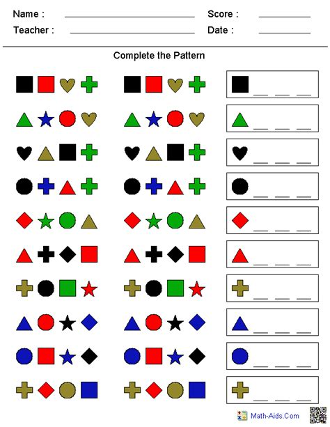 pattern math worksheets 1st grade patterns worksheets dynamically created patterns worksheets