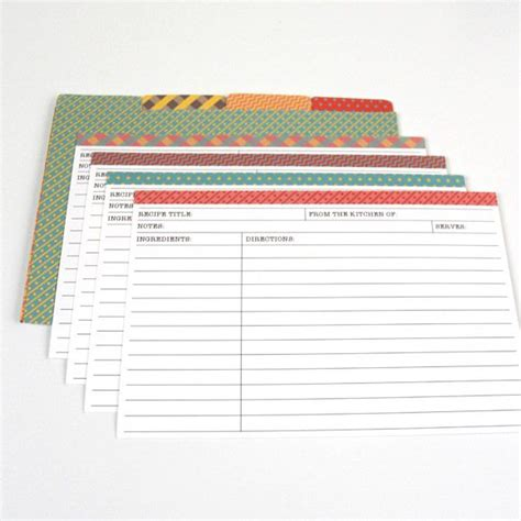 template for 4x6 recipe cards recipe cards washi looking edges on these printable