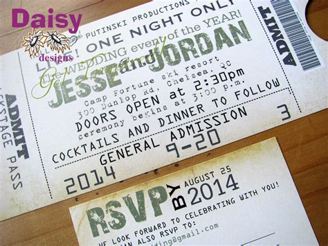 wedding invitations like concert tickets concert ticket wedding invitation by designs