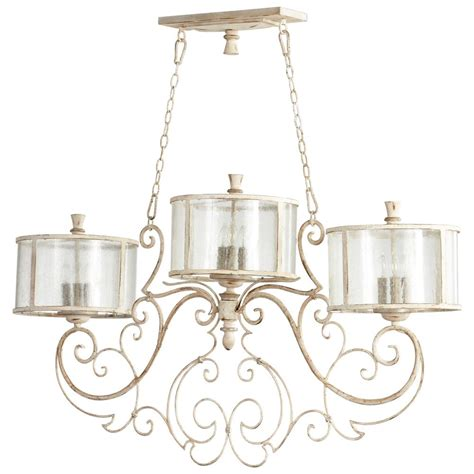 Country Island Lighting Florent Country White 9 Light Island Chandelier Kathy Kuo Home