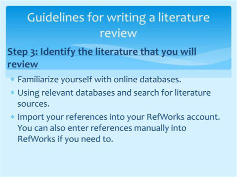 guidelines  writing  literature review